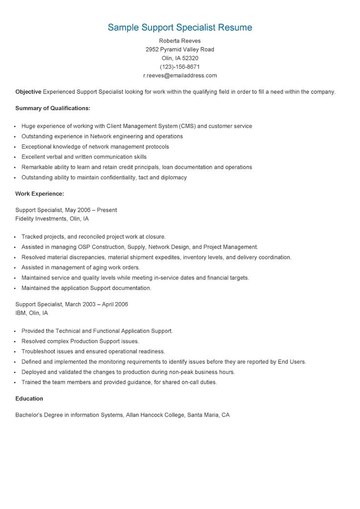 235 best resame images on Pinterest Html and Career - Information Technology Specialist Resume