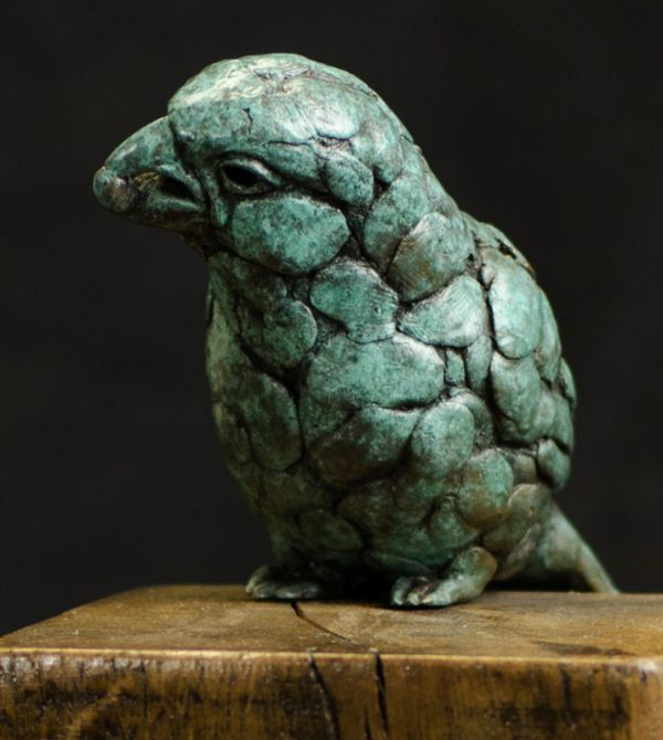 Bronze and Oak #sculpture by #sculptor Anthony Smith titled: 'Finch (Bronze Feeding statuette statue figurine)'. #AnthonySmith