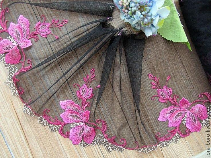 Купить Нежные цветы на чёрной сетке - фуксия, цветочная вышивка, черная сетка, нежная вышивка
