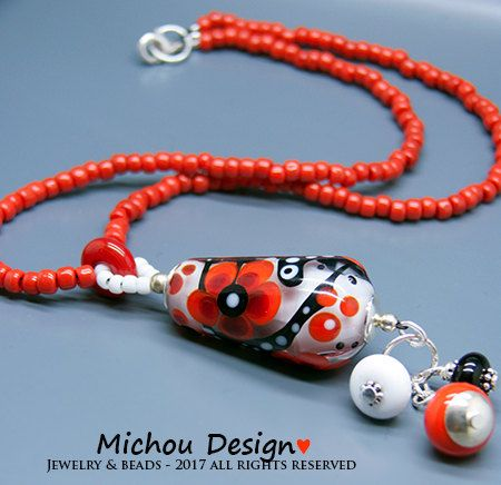 Michou Pascale Anderson *Rosy* Necklace - Lampwork  Pendant - Sterling Silver, Toho glass seeds by MichouJewelry on Etsy