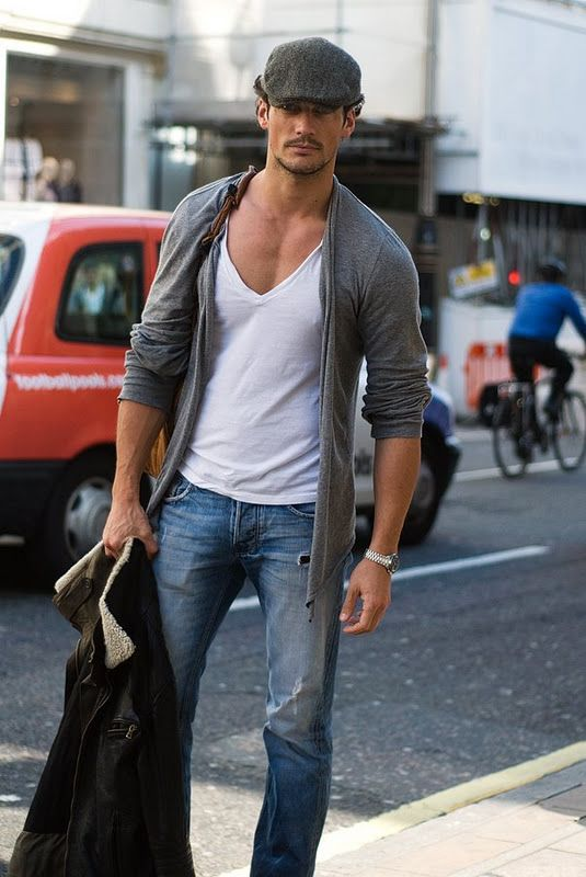 Deep V and Cardigan.Stylemen, Modern Man, Fashion Clothing, Guys Fashion, David Gandy, Street Style Men, Men Fashion, Casual Looks, French Style