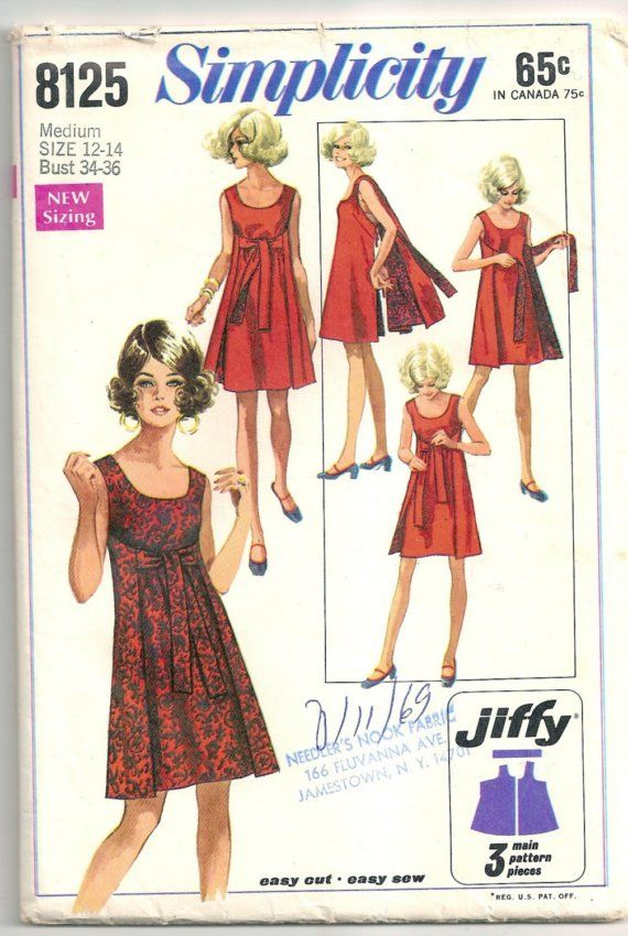 Vintage sewing pattern, reversible wrap dress, Simplicity 8125, B34-36, unused