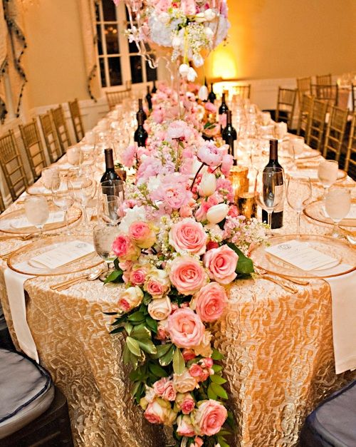 Pink Rose Garland For Long Table At Wedding Reception The Mountain Brook Club Birmingham Alabama