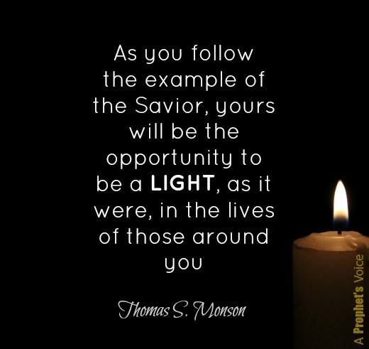 """""""Our opportunities to shine surround us each day, in whatever circumstance we find ourselves. As we follow the example of the Savior http://facebook.com/173301249409767, ours will be the opportunity to be a light in the lives of others."""" From #PresMonson's http://pinterest.com/pin/24066179228814793 Oct. 2016 #LDSconf http://facebook.com/223271487682878 message http://lds.org/general-conference/2015/10/be-an-example-and-a-light #BeALight; #MakeADifference; #ShareGoodness"""