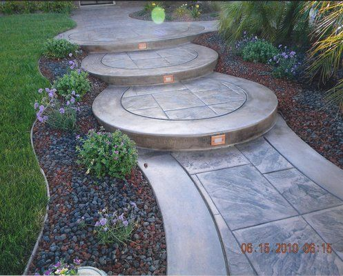 Best Curved Concrete Steps With Recessed Lighting And Stamped 400 x 300