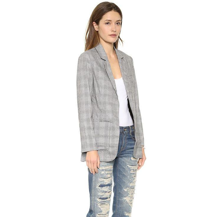Women Blazer Coat Color Block Plaid Blazer Lapel Outwears Pockets Casual