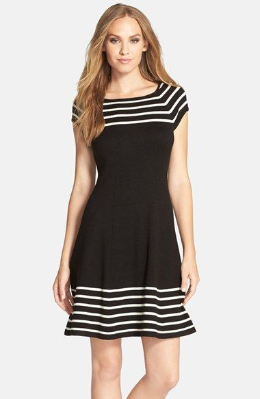 Free shipping and returns on Eliza J Stripe Knit Flared Dress (Regular & Petite) at Nordstrom.com. Contrast stripes lend visual dimension around the neck and hem of a rich sweater-dress, further accentuating its clean fit-and-flare silhouette.