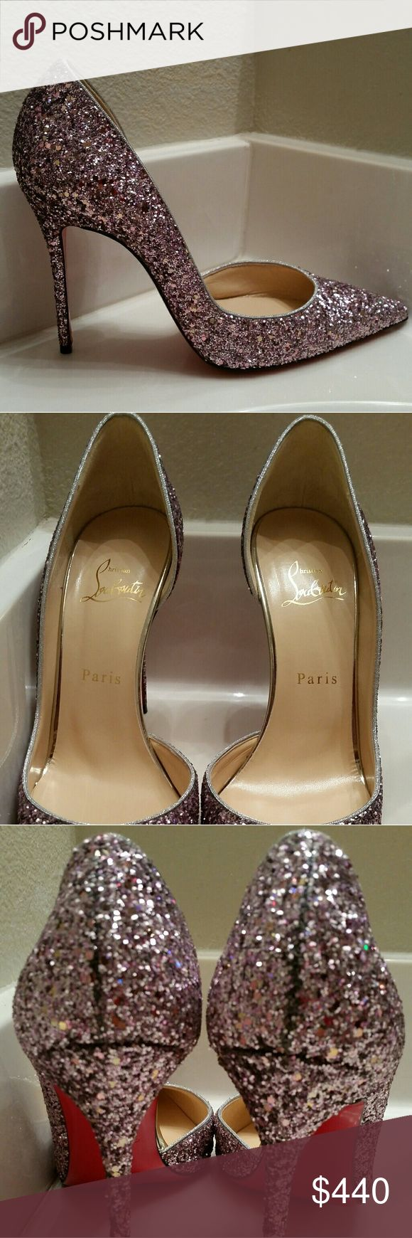 Christian Louboutin Iriza Glitter Authentic Christian Louboutin Iriza 100 Glitter/Spec/Rub Met. The color is Ronsard/Light Gold. These are size Eur 39. Comes in original box with dust bag. Christian Louboutin Shoes Heels