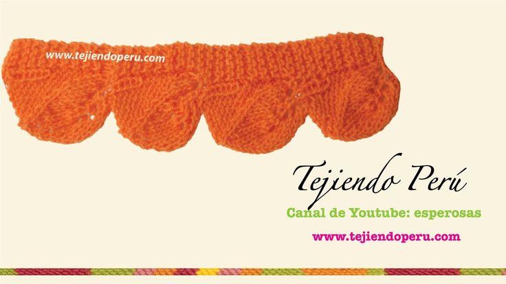 Cenefa de hojas tejida en dos agujas para aplicar o coser - Tejiendo Perú