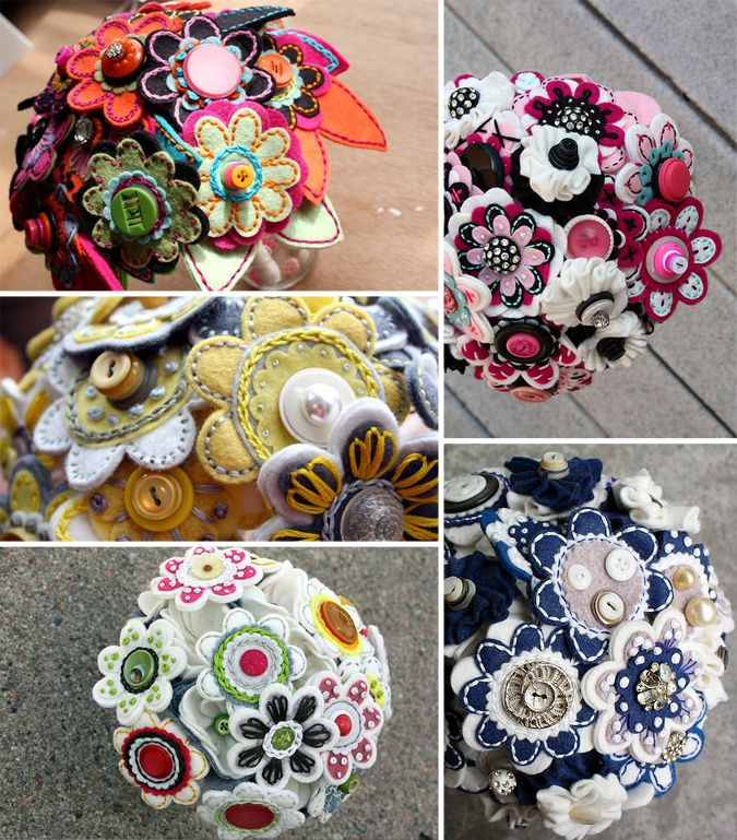 Princess Lasertron's vintage felt and button bouquets