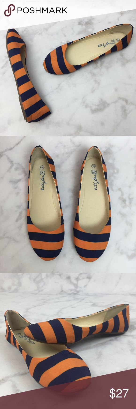 "LillyBee U Blue & Orange Striped Ballet Flats! Used once; excellent condition! LillyBee University dark blue & orange striped ballet flats. No bow or dustbag! Lightweight flexible construction. Durable poly-cotton fabric upper - some creasing from storage that will release if worn. Vegan man-made lining. Some minor discoloration spots from being worn & where manufacturer sole glue transferred to fabric. Size 10 (half sizes should size down to closest whole size); inner sole approx. 10½""…"