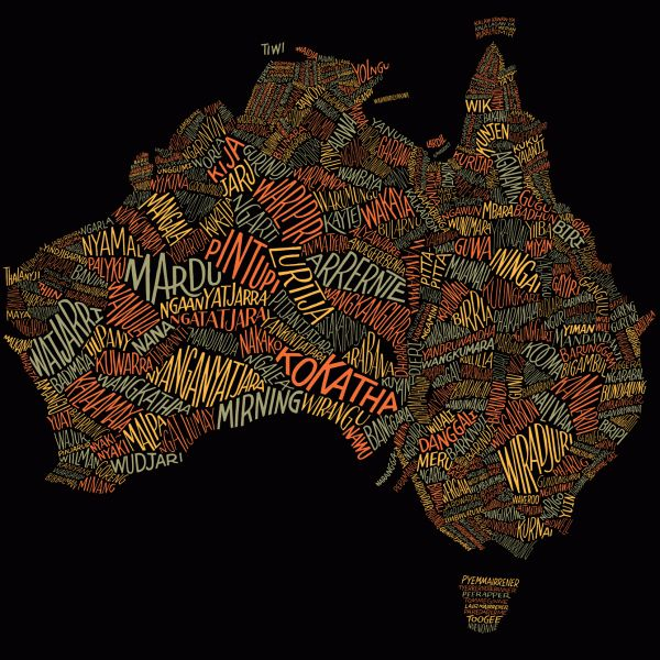 Dave Foster - Custom lettering for a word map showing over 380 Aboriginal tribes and dialects in their respective locations. Australian Geographic
