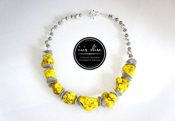 Silver & Yellow Chunky Stone Statement Necklace #iriselise #etsy #jewelry #handmade
