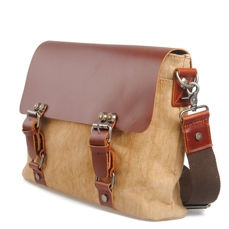 Vintage Handmade Crazy Horse Leather Canvas Briefcase / Satchel / Laptop Bag - Backpack / Messenger