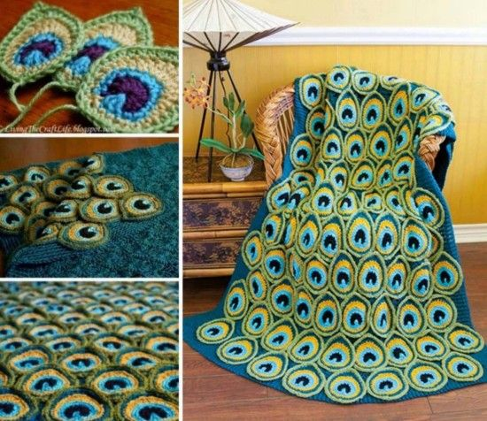 Peacock Crochet Blanket - free peacock feather patterns in our post