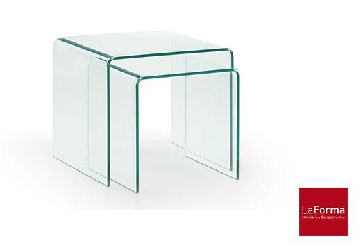 MESA AUXILIAR BURANO Juego de 2 mesas nido en cristal templado transparente. A60x60x38