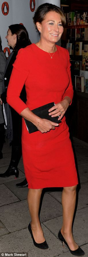 Carole Middleton in a striking red dress at the launch of daughter Pippa Middleton's first book