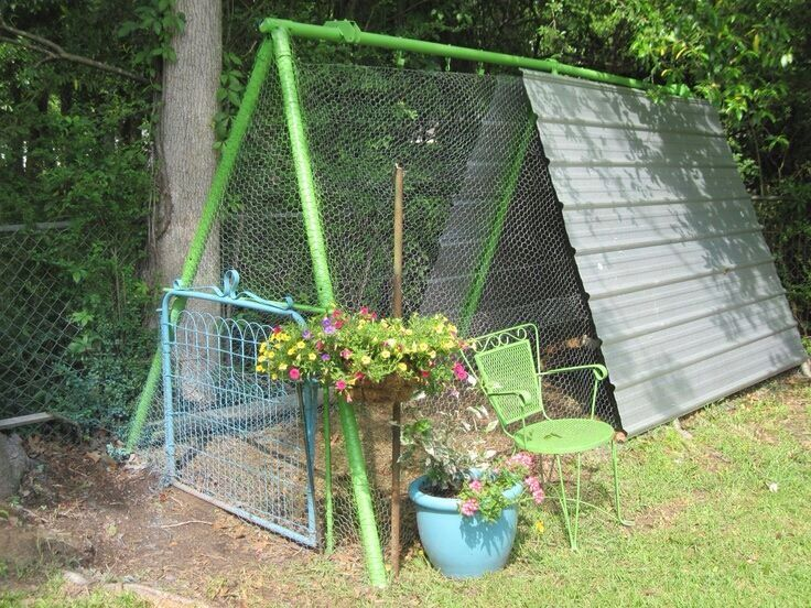 Chicken coop made from old swing set frame.