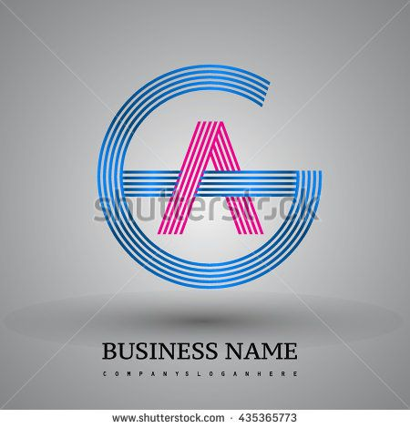 Letter GA or AG linked logo design circle G shape. Elegant blue and red colored letter symbol. Vector logo design template elements for company identity.