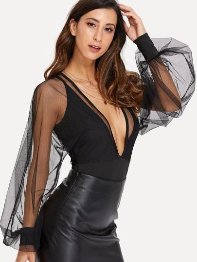 c3be2de44b Shop Sheer Mesh Bishop Sleeve Bodysuit online. SheIn offers Sheer Mesh  Bishop Sleeve Bodysuit   more to fit your fashionable needs.