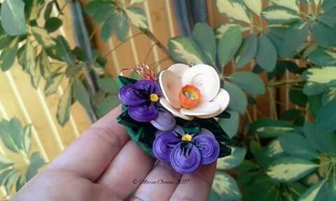 Quilled March brooche (daffodil and pansies) by Maria Oroian