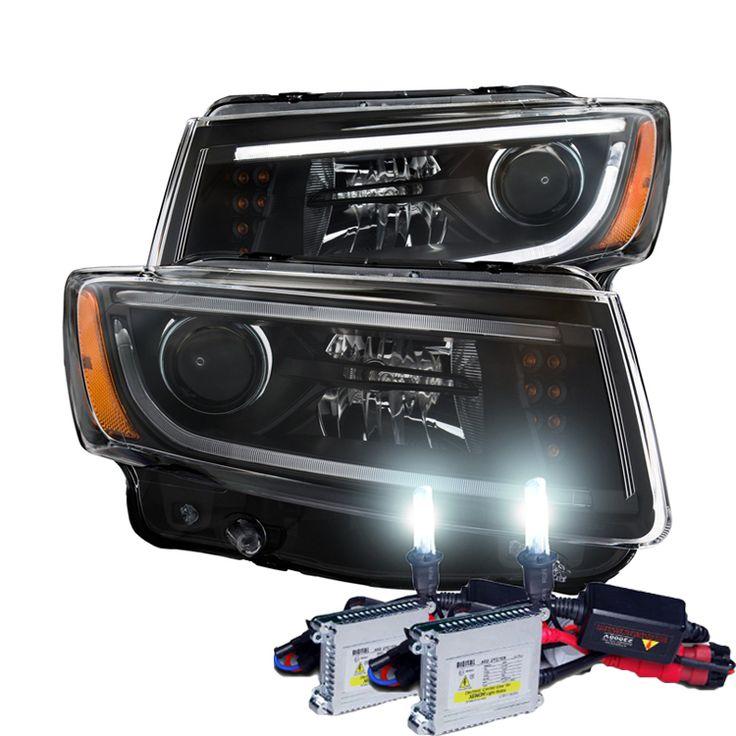 HID Xenon + 2014-2015 Jeep Grand Cherokee Fiber-Optic DRL Projector Headlights - Black