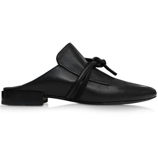 3.1 Phillip Lim Shoes Louie Black Leather Mule (875 CAD) ❤ liked on Polyvore featuring shoes, black, slip on mules, slip-on shoes, stacked heel shoes, black leather mules and mule shoes