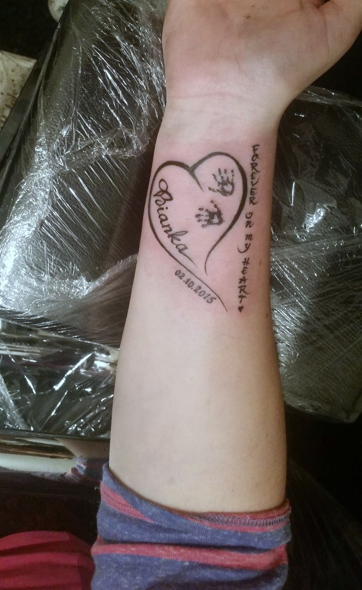 daughter's name tattoo, forever in my heart, ink