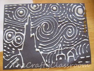 Van Gogh's Starry Night - using glue & oil pastels on black paper. This is a very cool version of this piece of art.