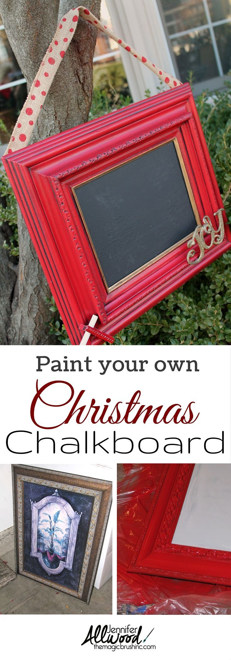 What a thoughtful Christmas gift idea! Here's how you turn an old framed piece of artwork into a fantastic holiday decoration! More DIY projects and painting tips at http://TheMagicBrushinc.com