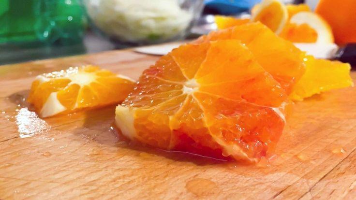 Fettine di arancia, arancia sbucciare, come sbucciare le arance per l'insalata