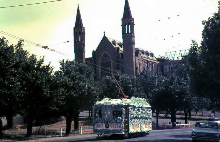 The Christmas tram taken in the 1960's. The Cathedral is under construction pre spire.