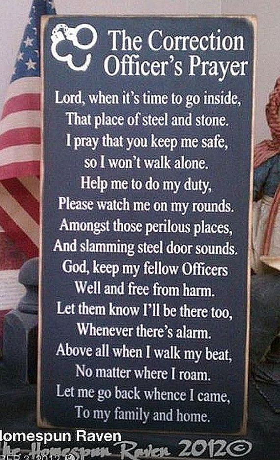 Corrections Officer Prayer Law Enforcement Primitive Wood Sign Cop Deputy LE Sheriff Police Blue Line