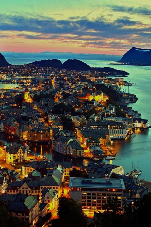 Alesund Norway...Night lights.....Cityscape.....