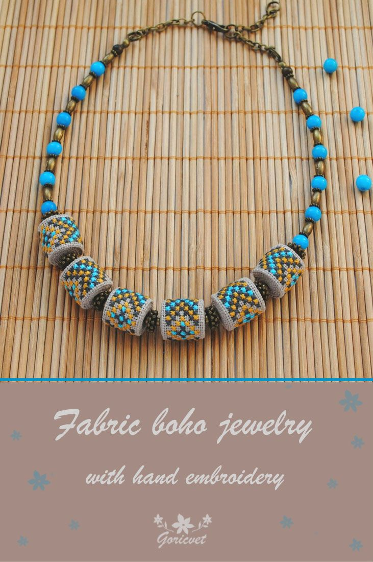 Fabric necklace with hand embroidery and aqua chalcedony beads #necklace #embroidery #bohojewelry #bohostyle #aqua #beadedjewelry