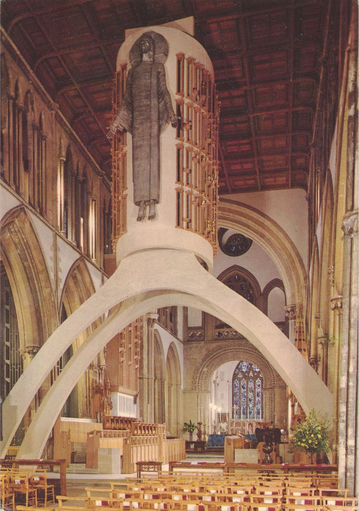 Postcard: Llandaff Cathedral (Church of Wales (Anglican)). The concrete arch and organ case with the Epstein Majestas. Card in English, Wels...