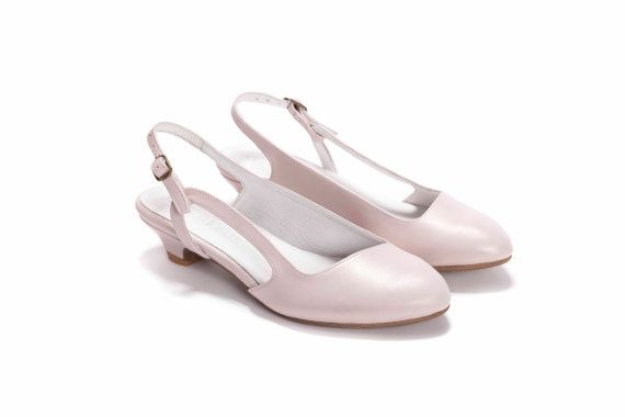 Pink Wedding Shoes Low Heel: Blush Pink Leather Bridal Sandal , Low Heel Slingback