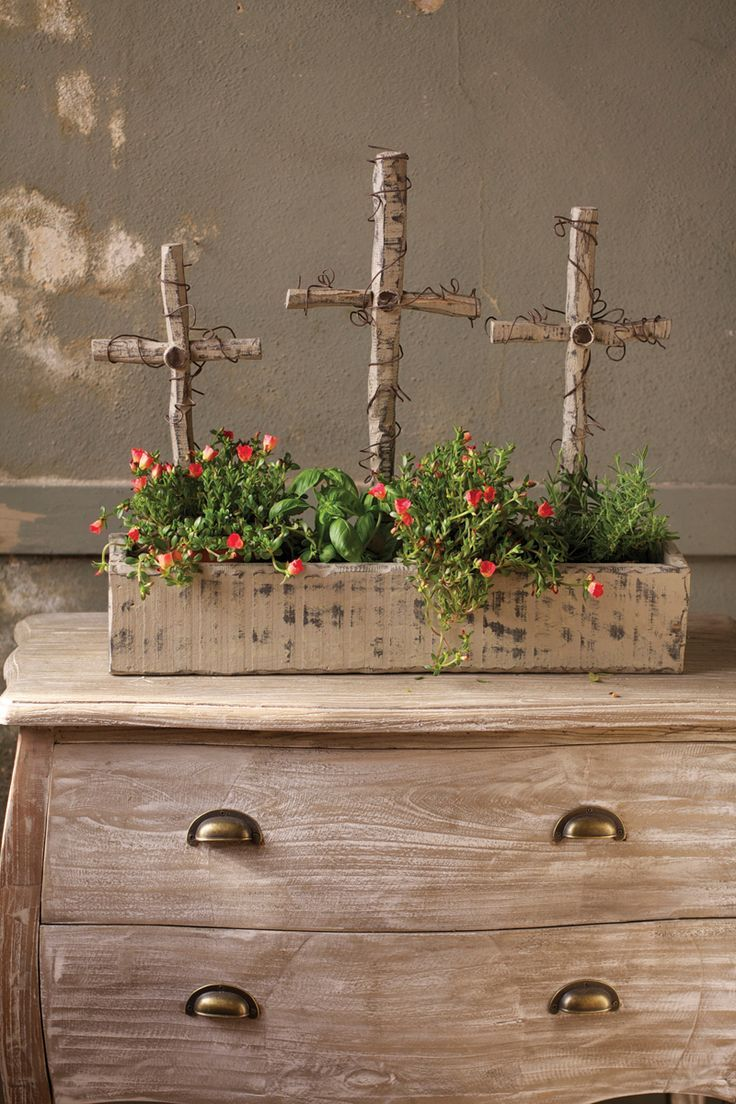 Love these rustic crosses in a wood box