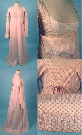 """Nice site on Bib front Regency dress. """"Extant gown, c. 1808. White cotton with red polka dots. Gathered self-fabric trim inset at hem. Clockwise from the top right: Full gown, face front; Close up of the bodice with the bib down (note the drawstring across what would be the top of the bib); Detail of the back, showing the ties (incorrectly tied); Detail of the hem: Side view of the full gown. """""""