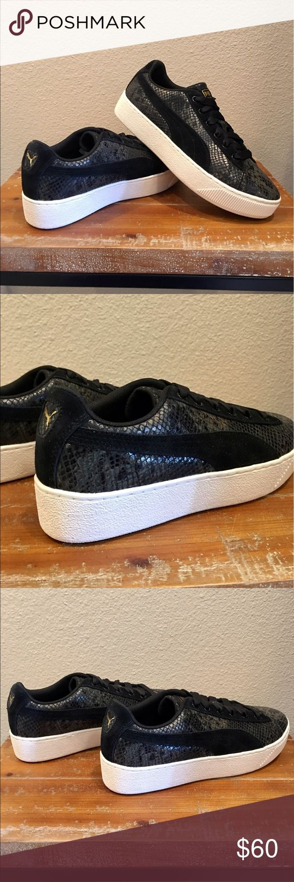 💋SNAKESKIN PLATFORM PUMA'S💋 NWOB. Never worn, Badass kicks for badass you❣️ Black suede puma stripe on iridescent snakeskin uppers, black laces and all white platform walls. A gold puma logo at heel and on tongue to add a touch of lady gangster👌🏼 Mad love ❤️ Women's sizing. Super OG. Puma Shoes Sneakers