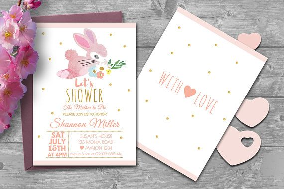 Pink Bunny Baby Shower Invitation - We design, You Print
