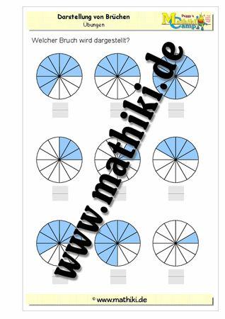 Grafische Darstellung von Brüchen - ©2011-2016, www.mathiki.de - Ihre Matheseite im Internet #math #bruch #fraction #arbeitsblatt #worksheet