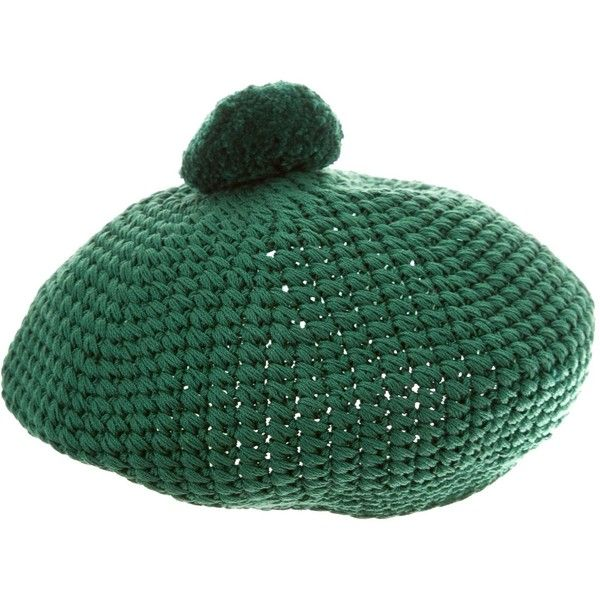Pre-owned Gucci Crocheted Pom-Pom Beret ($295) ❤ liked on Polyvore featuring accessories, hats, green, knit berets, crochet beret hat, crochet hat, gucci hat and green beret hat