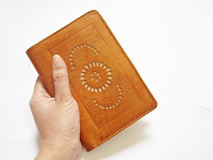 SAGO LIGHT BROWN Leather Passport Cover Passport holder Passport Case Travel wallet womens wallet  leather boho wallet carved blue red by Astaboho on Etsy