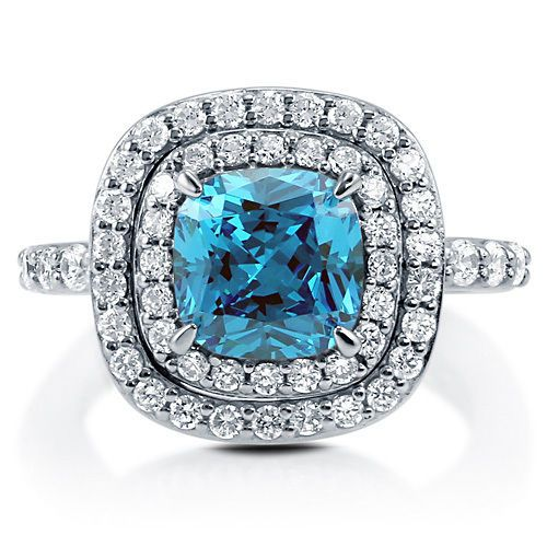 Women's 2 Carat #Cushion-CutRing Blue Topaz CZ Sterling Silver #CocktailRing in Size 4 5 6 7 8 or 9