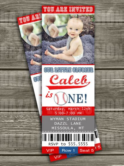 Printable Baseball Ticket Birthday Photo Invitation | All Star Sports Party | Boys First Birthday Party Idea | Rookie Year | FREE Thank You Card Included | Party Package Decorations Available | www.dazzleexpressions.com