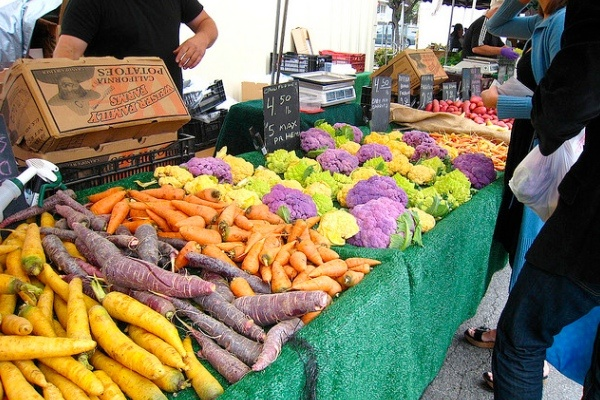Whole bunch of veggies from the Santa Monica Farmer's Market