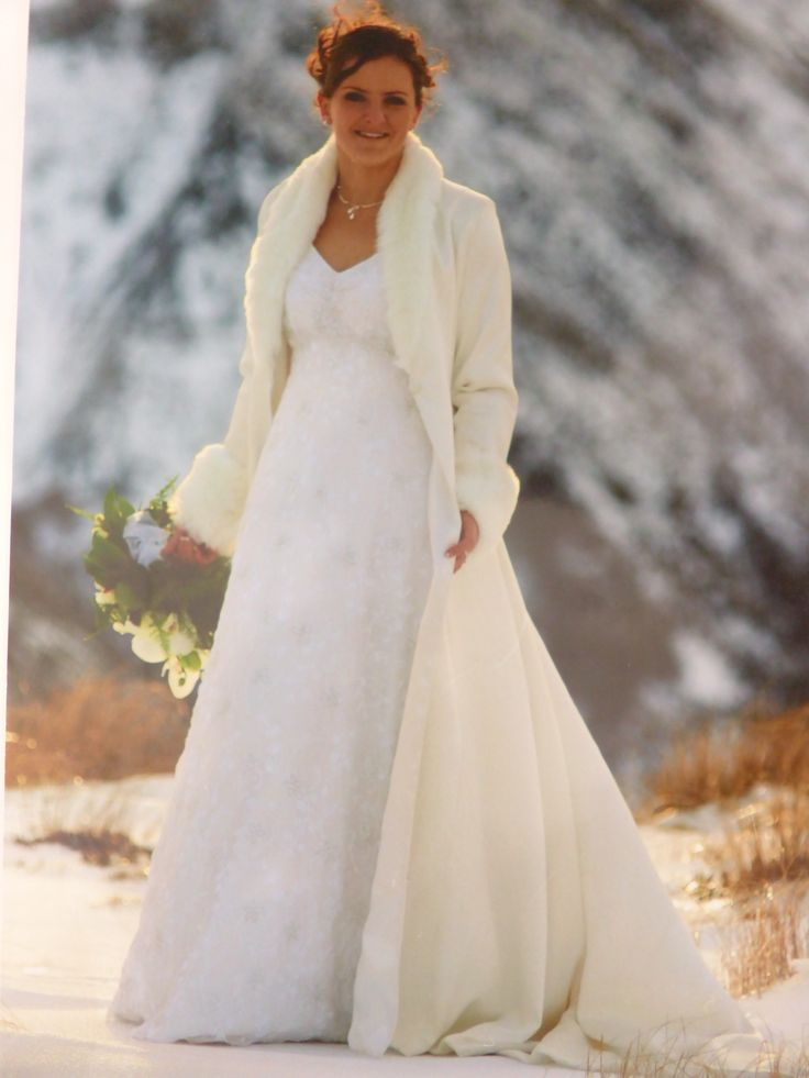 Wedding gown and coat for in the snow