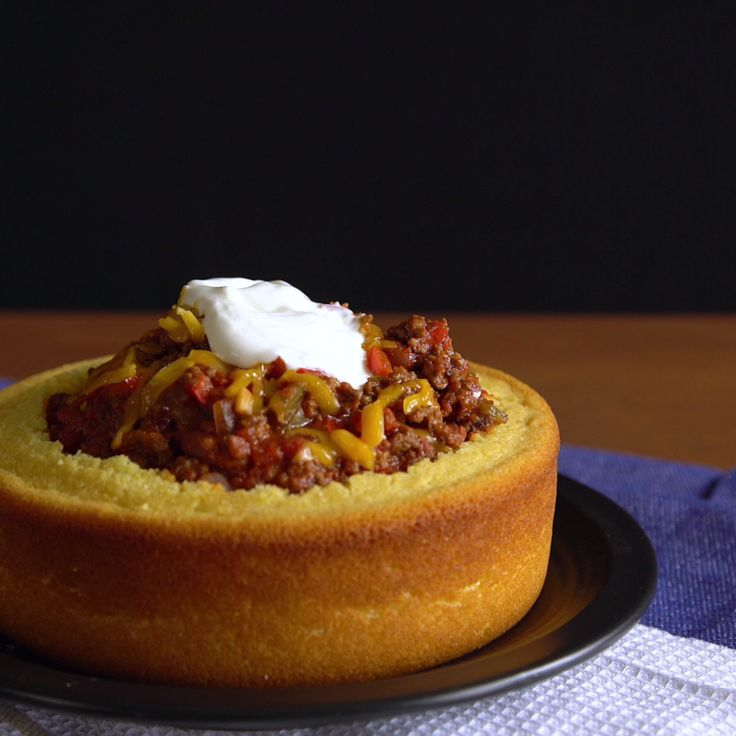 Why eat chili out of a regular bowl when you can eat it out of a cornbread bowl?