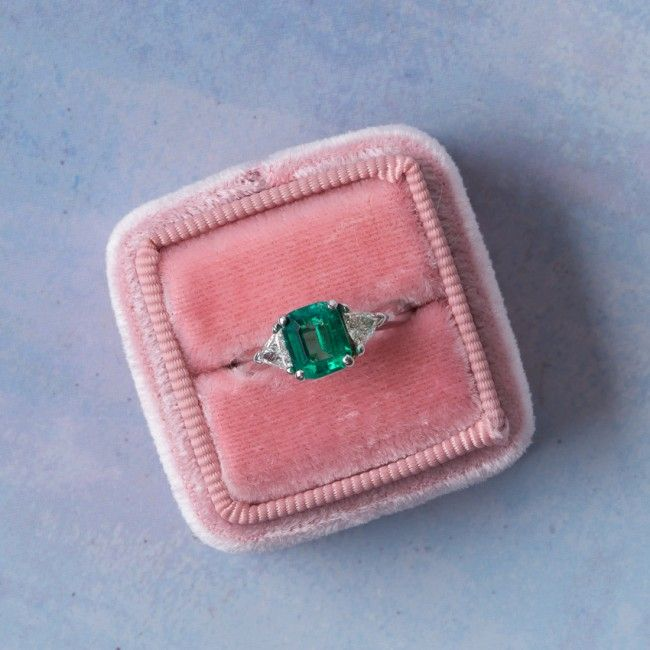Modern Era Columbian Emerald Ring with Diamond Accents | Summitridge from Trumpet & Horn